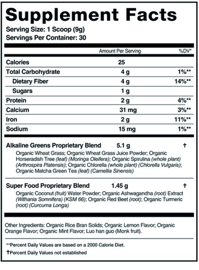 Supplement ingredients, facts & nutritional label for Organifi